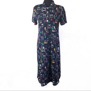 Vintage 80's Abstract Houses Dress